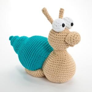 Milton the Slowpoke Snail by Fresh Stitches Crochet designer Stacey Trock