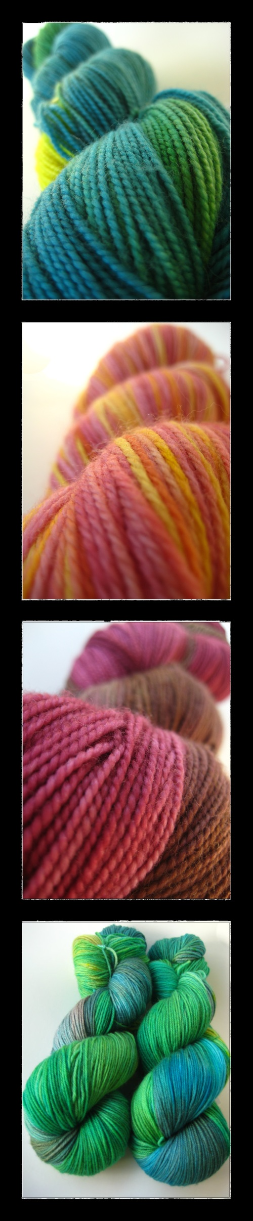 Hand dyed yarn for knitting and crochet by indie dyer SpaceCadet Creations
